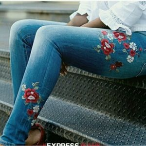 Express High Rise Embroidered Legging Jeans